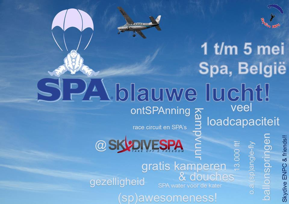 Spa blauwe lucht boogie skydiving 2015